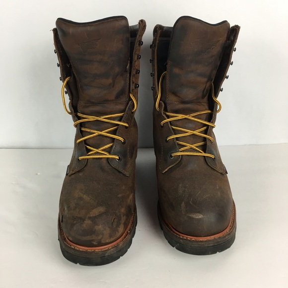 01fe1b02910 Redwing Logger Boots Steel Toe Size 11 Brown #4417